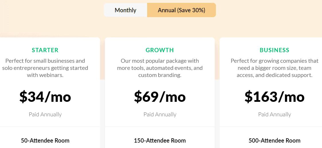 Demio Pricing table