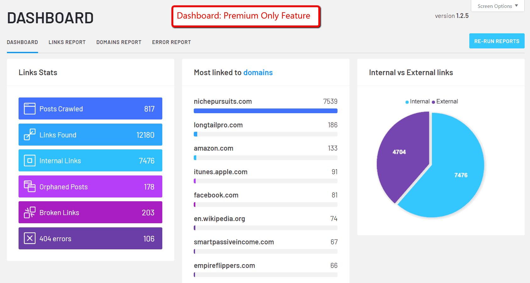 Dashboard report of Linkwhisper